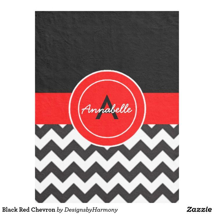 Black Red Chevron Fleece Blanket