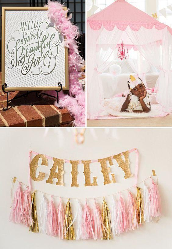 Dreamy Pink & Gold Glam Pajama Birthday Party