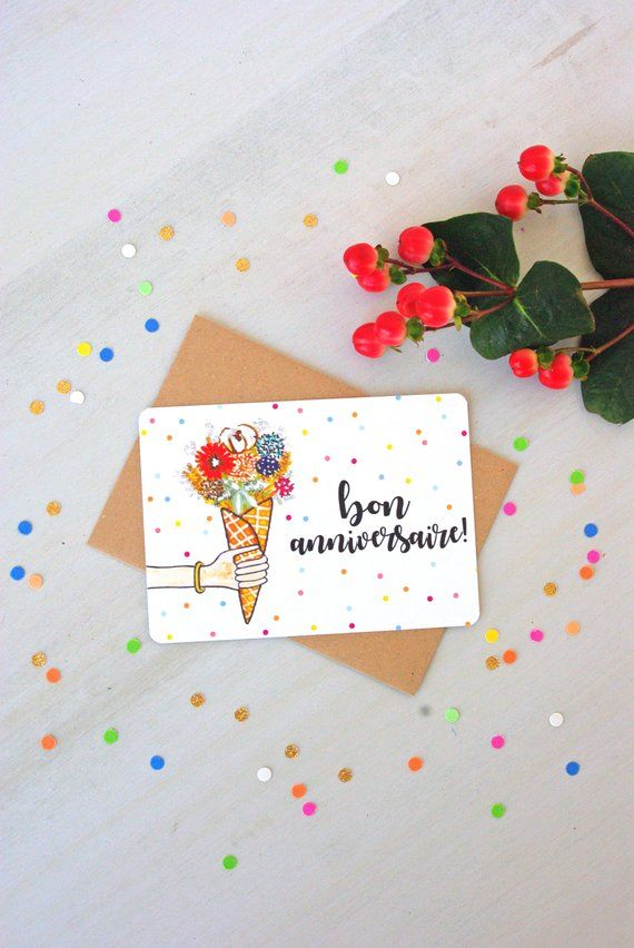 Carte Bon Anniversaire Bouquet Et Pois Illustration Aquarelle