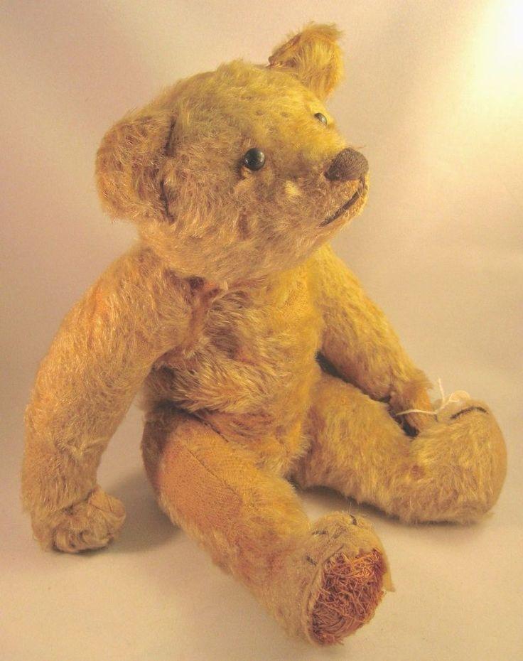 "Early 1900's ~ ANTIQUE 13"" TEDDY BEAR ~ Lovable in need of TLC"