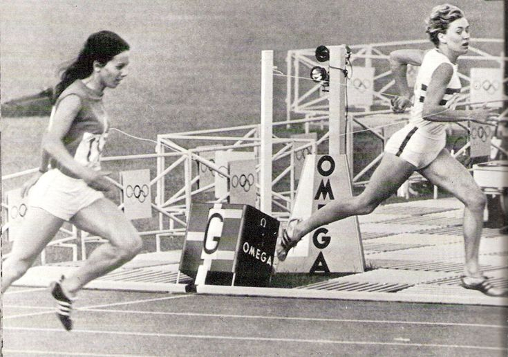 France's Colette Besson beats Lillian Board go Great Britain into second place in the 800m. final at the 1968 Mexico Olympics