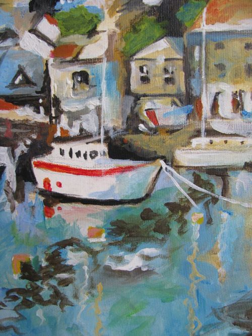 Acrylic painting detail of a Cornish harbor. Following a tutorial of Will Kemp Art School.
