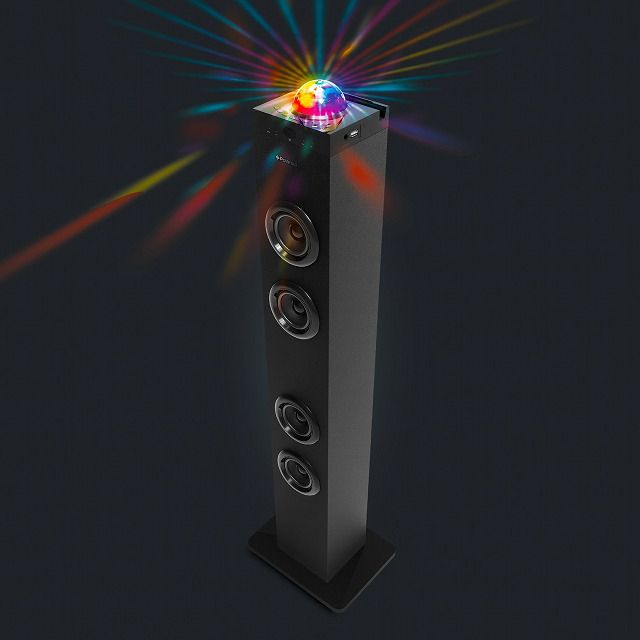 Turn on the Disco Ball Bluetooth Tower Speaker to fill any room with colorful, dancing lights, and rich quality sound.
