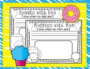 Donuts with Dad and Muffins with Mom Poster Activites {k-1}
