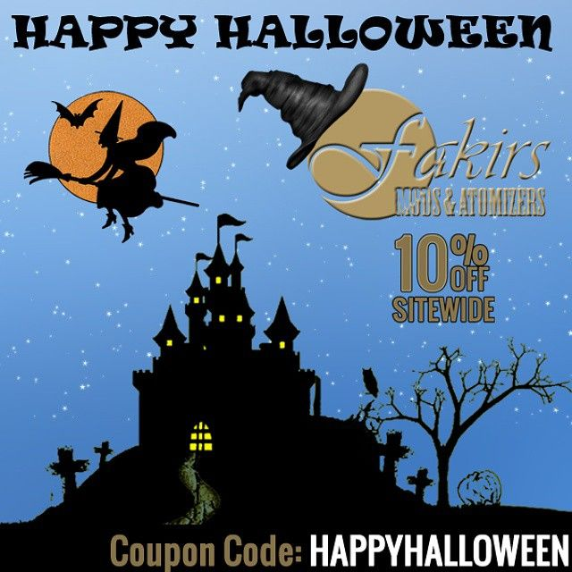 Happy Halloween!  Follow us on Instagram. Join our contests.  #Halloween #HappyHalloween #Halloween2014 #HappyHalloween2014 #HalloweenSale #HalloweenVape #MeetTheFakirs #ecig #vape #vapeon #highendmodsonly #vapelyfe #vapefam #vapearazzi #instavape #nwvapers #calivapers #vapersuite #vapesirens #vapesiren #vapestagram #vapecommunity #vaporizer #vapeporn #vaporporn #vaporlife #vapelife #vapelove