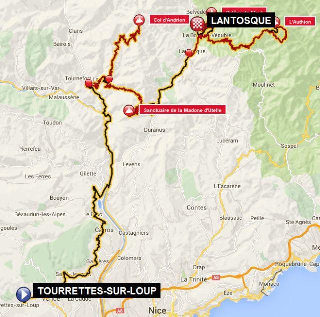 carte 2  _ 2ème étape–Tourrettes-sur-Loup– Vence – Saint-Jeannet – Gattières – Carros – défilé du Chaudran – La Tour –Col d'Andrion– demi-tour – La Tour –Sanctuaire de la Madone d'Utelle– demi-tour – Utelle – Lantosque – La Bollène-Vésubie – Col de Turini –L'Authion– col de Turini – La Bollène-Vésubie –Pylône de Flaut–Lantosque= 190 km