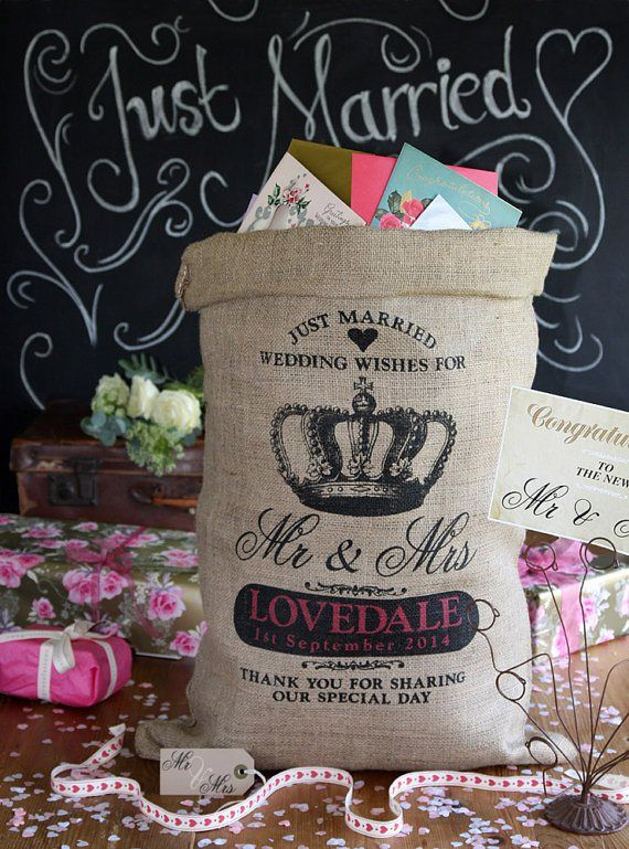 Personalised burlap card-holder or 'wishing well' - see more ideas at http://themerrybride.org/2014/09/06/ideas-for-personalising-your-wedding/
