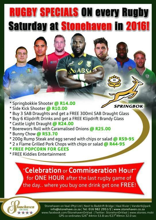 """We're proud BOK supporters! Join us each 2016 Saturday for live rugby games on BIG screens. • Get Springbokkies at only R14.00 • Get a FREE 300ml draught glass for every 3 x SAB draughts • FREE pop corn. • 2 x flame grilled pork chops with chips or salad for R44.95 • Boerrie rolls, bunny chows & light meals all very well priced. Stay for our """"Celebration or Commiseration Hour"""" starting right after the final game of the day where you can buy 1 drink and get another 1 free!"""