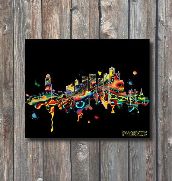 PRINTABLE Phoenix Skyline Wall Art-Printable by HappyFiestaDesign