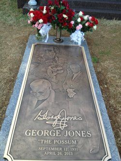 Grave Marker- George Jones, American country musician. (3 of 3) He is buried in the Woodlawn Memorial Park and Mausoleum in Nashville, Tennessee. (Close up of new marker) http://www.thefuneralsource.org/deathiversary/april/26.html