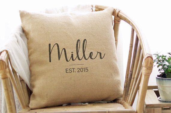 These personalized farmhouse pillow covers with last name and established date make great anniversary and wedding gifts. The burlap adds a unique textural element to any setting with a simple design that appeals to a variety of tastes. ◆◆ This listing is for the PILLOW COVER ONLY. Pillow form available here: http://etsy.me/2cZuotH ◆◆  --------------------------------------------------------------------------  ◆◆ No longer shipping in time for Christmas◆◆  **Please note that while we take…