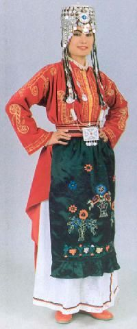 Traditional bridal (but also: general festive) costume from central district of the Urfa province.  Mid-20th century.  This is a recent workshop-made copy, as worn by folk dance groups.urkish Costumes, Sanliurfa, Woman