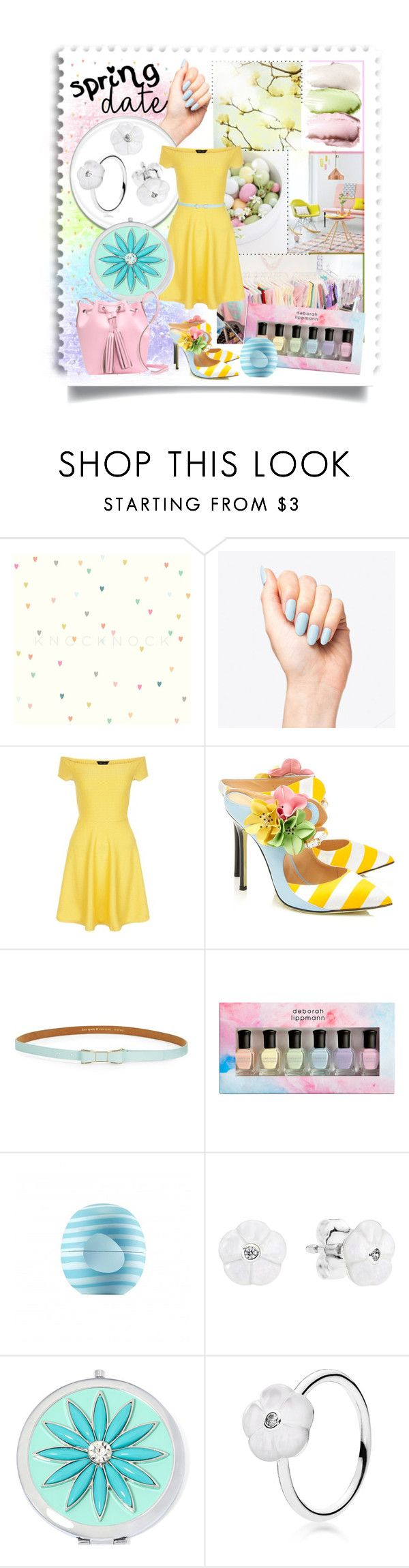 """Spring Date (Весеннее свидание)"" by kseniz13 ❤ liked on Polyvore featuring New Look, Giannico, Kate Spade, Deborah Lippmann, Eos, Pandora, Liz Claiborne and J.Crew"