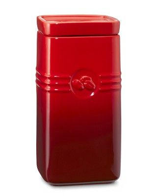 Le Creuset Café Stoneware Coffee Canister in Red or Truffle - Williams-sonoma