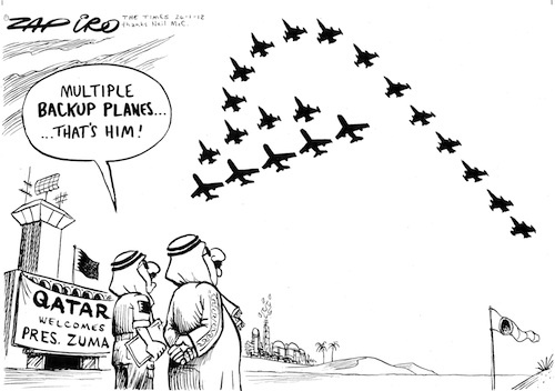 The shower head follows Jacob Zuma on a state visit to Qatar | www.zapiro.com