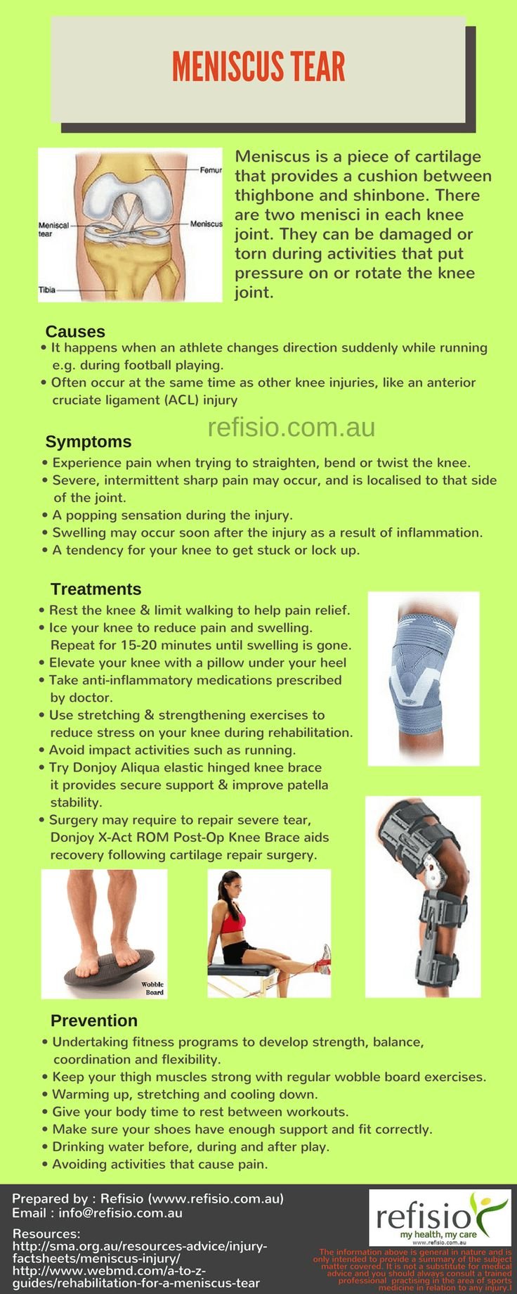 Recommended rehab products for Meniscus Tear treatment: Aircast Knee Cryo/ Cuff - to ice and reduce inflammation of the knee. Donjoy X-Act ROM Post-Op Knee Brace - designed to aid recovery following knee cartilage repair. Donjoy Aliqua Elastic Hinged Knee Brace - designed for the treatment of meniscal injuries and post-operative support after meniscectomy as it can actively help the recovery process. Wobble Board - To mobilise the knee and kneecap joints, plus strengthe...