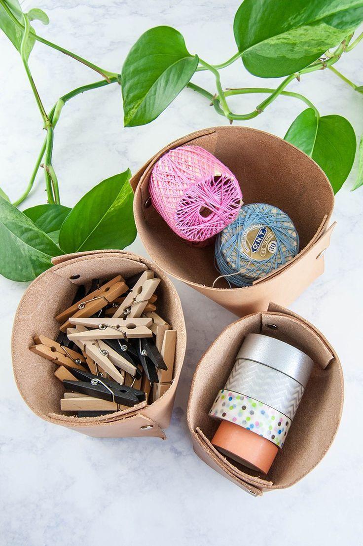 DIY Leather Catchall Organizer Bin Toilet paper bin
