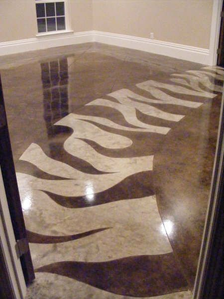 Concrete floor walkway - its like following the yellow brick road...............but with CLASS!!!   stained concrete floor with zebra stripes