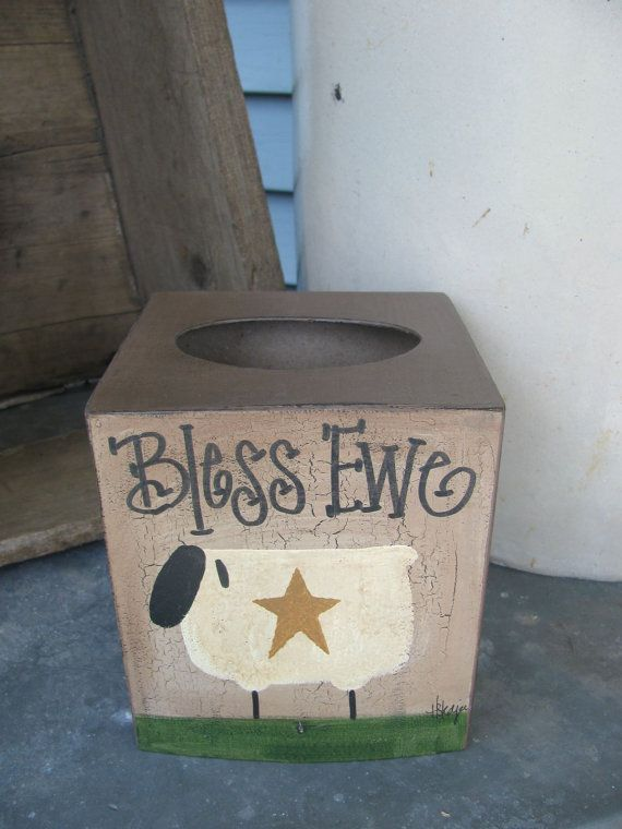 Primitive Bless Ewe Sheep Paper Mache Tissue by GainersCreekCrafts