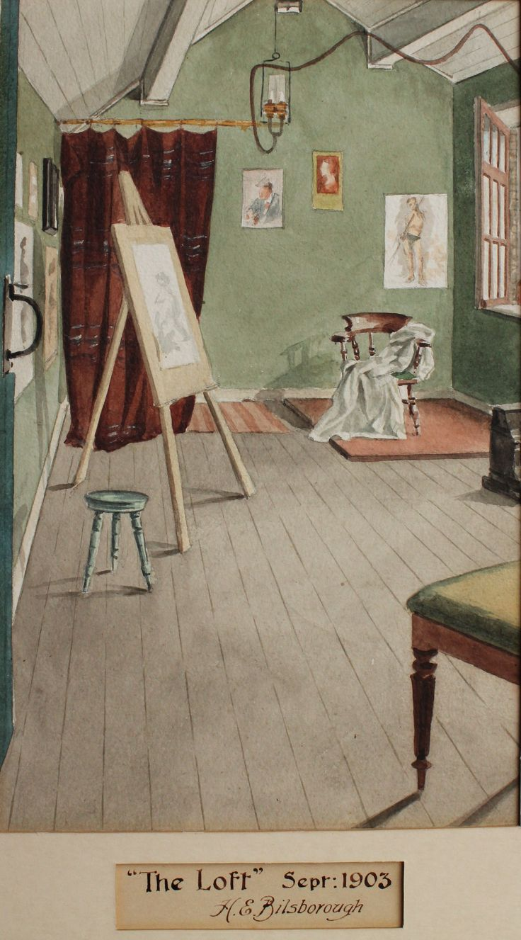 Antique Edwardian English watercolour painting of artist studio  by H  E   Bilsborough 1903  Sold at34 best Artist studio 1800 s images on Pinterest   Artist studios  . Artist Studio Furniture Uk. Home Design Ideas