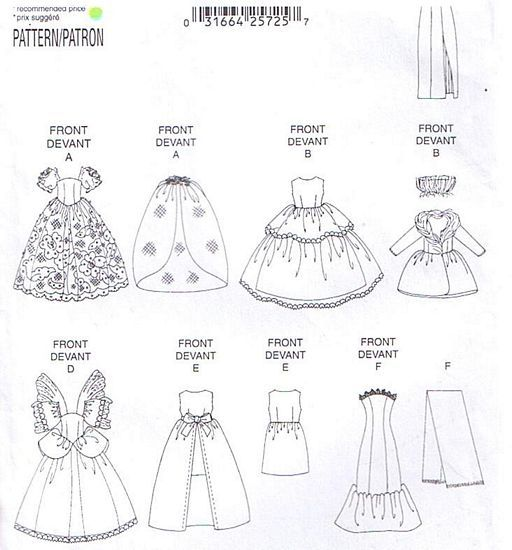 Butterick 5061 Fancy Dress Gown Fashion Doll Clothes ...