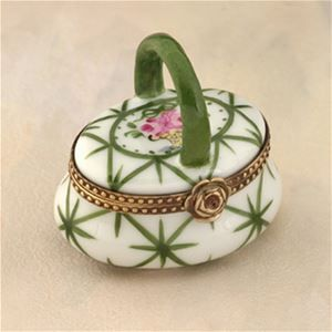 Limoges Green Basket with a Rose Box The Cottage Shop