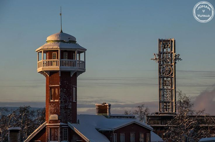 Gamla brandstationen och stadshuset klocktorn. #Kiruna.