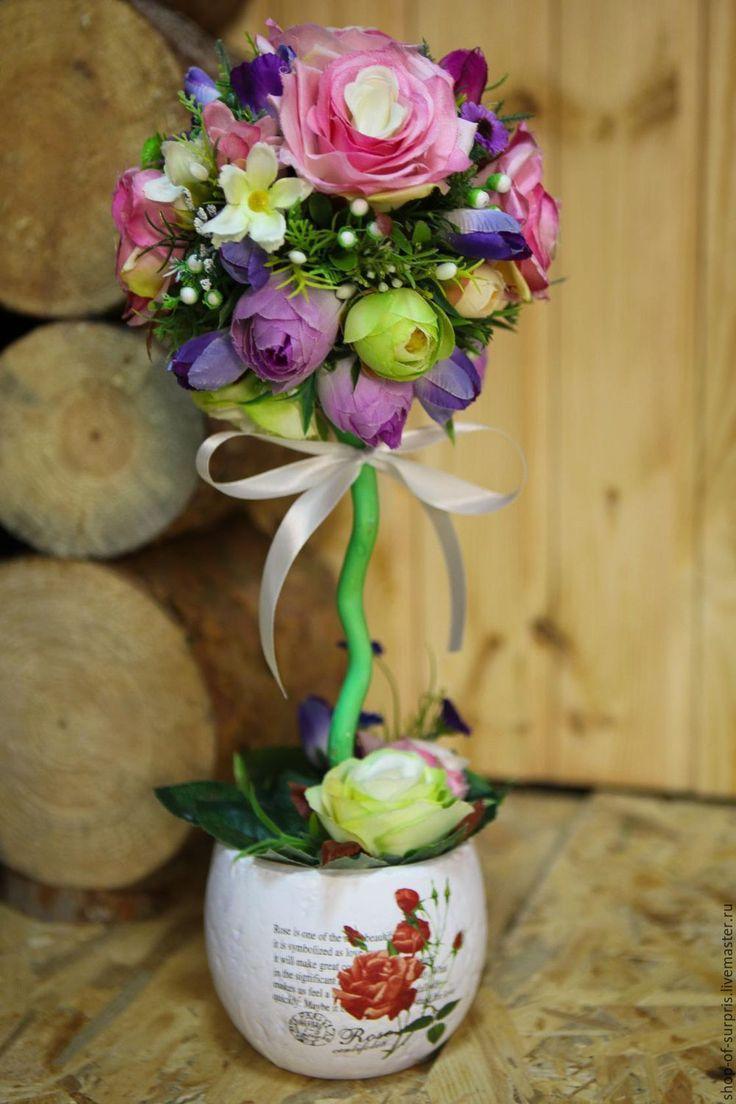 """Купить Топиарий """"Райские цветы"""" - комбинированный, топиарий, топиарий своими руками, топиарий ручной работы"""