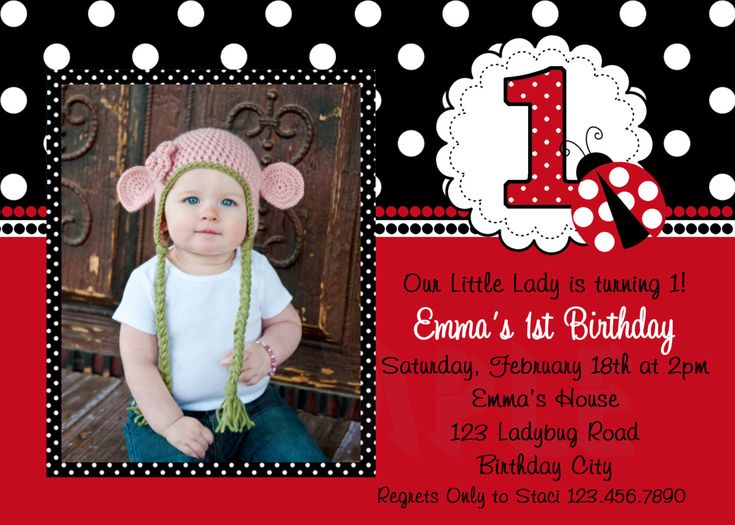 Ladybug First Birthday Invitations is the best ideas you have to choose for invitation example