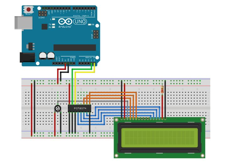 Pcf i c steckplatine lcd display with arduino