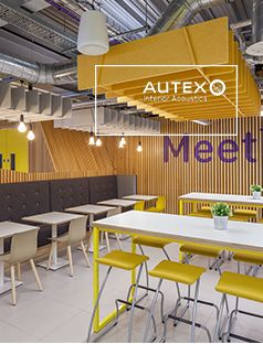 Unique acoustic ceiling and wall features using a variety of standard and custom Autex products match Loughborough University's culture and vibrant personality. #Autex #Innovation #ParagonInteriorsGroup #AcousticDesign #AutexCube #Quietspace3DTiles #QuietspaceLattice #LoughboroughUniversity #RedefiningAcoustics
