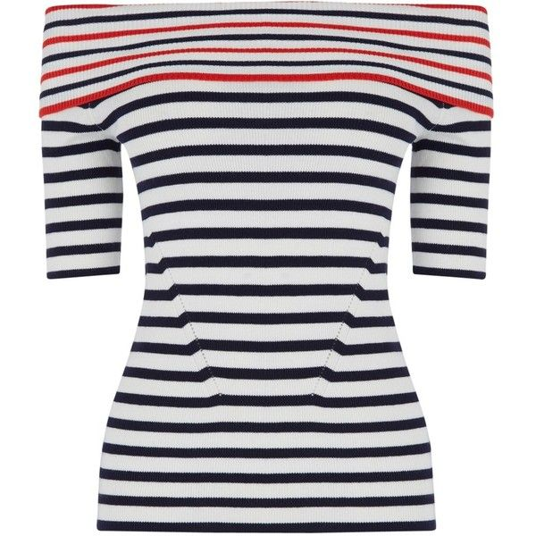 Oasis Stripe Bardot Top, Multi ($43) ❤ liked on Polyvore featuring tops, white top, nautical stripe top, stripe top, white fitted top and rayon tops