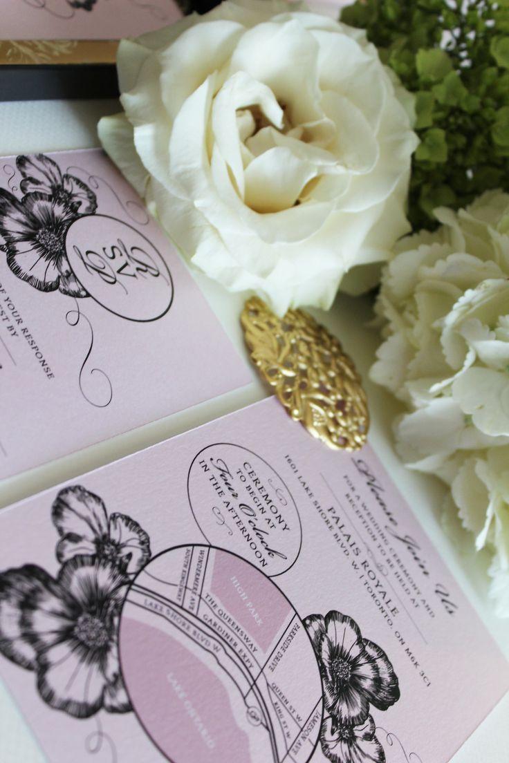 e wedding invitation for friends%0A Blush Pink  Gold and Black Boxed Wedding Invitation