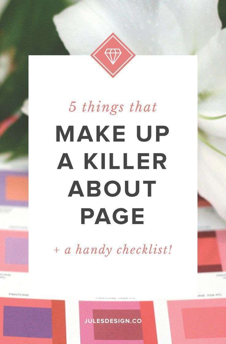 5 Things that Make up a Killer About Page + a Handy Checklist! - Remember, your About page is not actually about you. It should focus on your audience and how you can solve their main problem. Sprinkle in a couple of fun facts about yourself and a photo o
