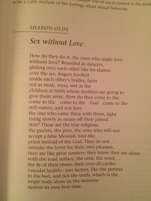 Sex Without Love Sharon Olds Analysis 85