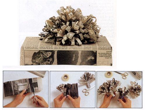 Images Gift Wrapping Present Idea Fun Easy Unique Newspaper Bow Tutorial Step By Beautiful Craft Diy Christmas Holiday Recycle Kids Wedding Family
