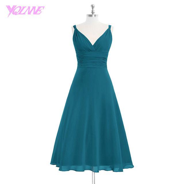 Image result for dark teal bridesmaid dresses tea length