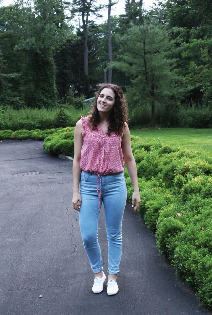Daisy Duke shirt and blue jeans