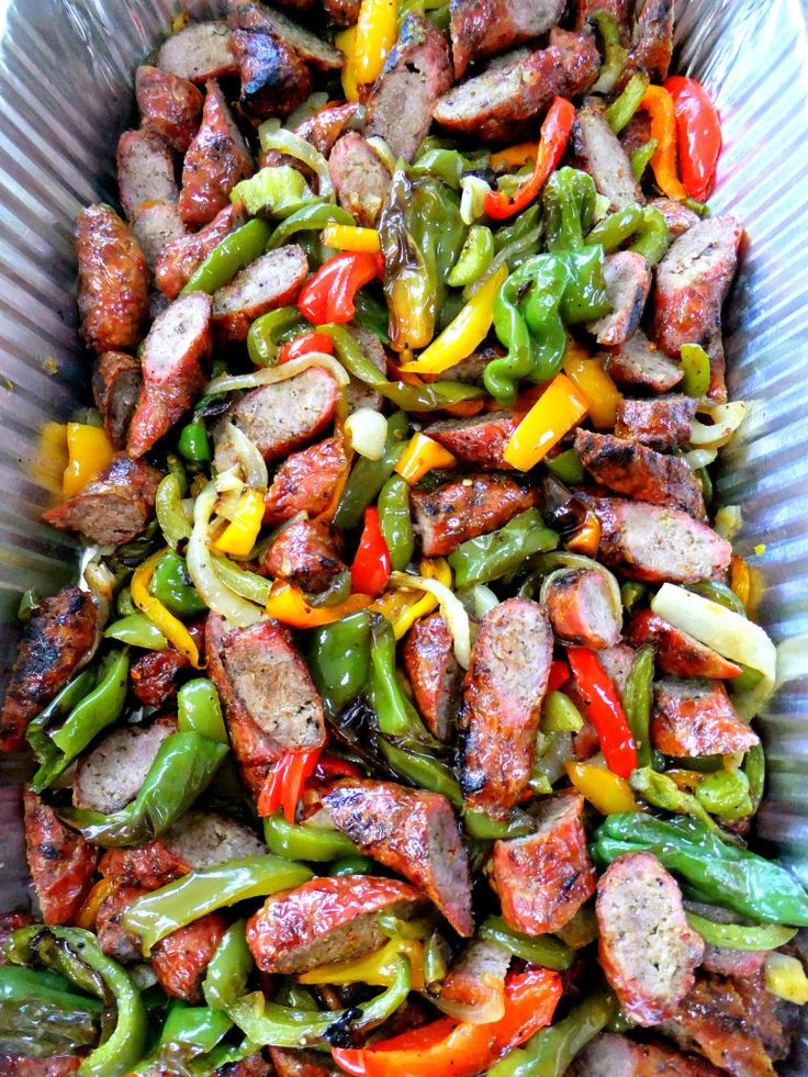 Party Recipes : sausage and peppers, baked mostacioli, grilled chicken, Mediterranean salad, zucchini