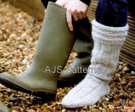 Knitting Pattern Thick Wool Socks : PDF Knitting Pattern for Mens Aran Wellington Boot Socks - Instant Download ...