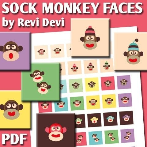 Sock Monkey Faces 16254  Printable Square 1 inch by BlessedShop