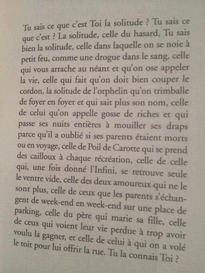"""Passage sur la solitude extrait du livre """"à ton Nom"""" de Damien Saez"""