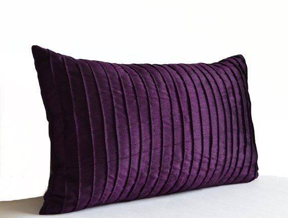 Purple Decorative Pillow Cover In Deep Dark Purple Dupioni Art Silk This Dark Purple Throw Pillowcase Purple Pillow Covers Purple Pillows Purple Throw Pillows