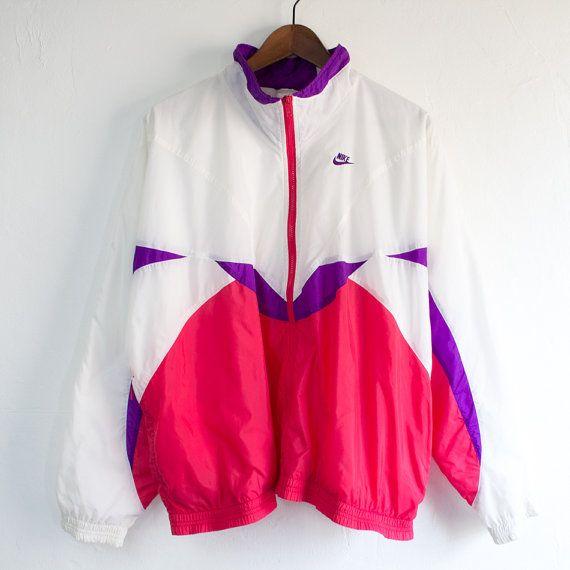 Nike International White/Magenta/Purple Windbreaker Jacket - (Large)