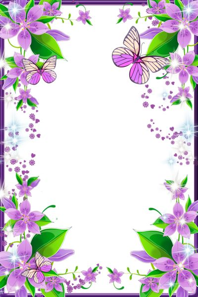 Light Purple Flowers and Butterflies Transparent PNG Photo Frame