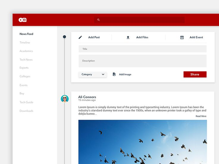 Another shot from the redesign project of EngineersHub. This one shows the newsfeed section along with the Add Post dialog expanded on top. Press L if you like what you see. Follow for more update...