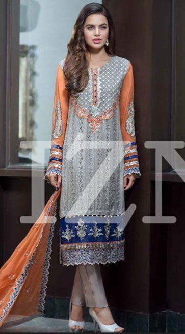 Grey/Peach Embroidered Chiffon Dress