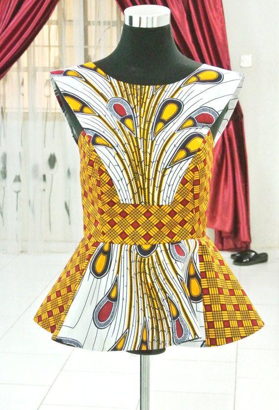 Gemengde Afrikaanse Print Peacock Blouse || Ankara Tops, peplos Tops, formele Tops, Afrikaanse kleding, Afrikaanse Party kleding