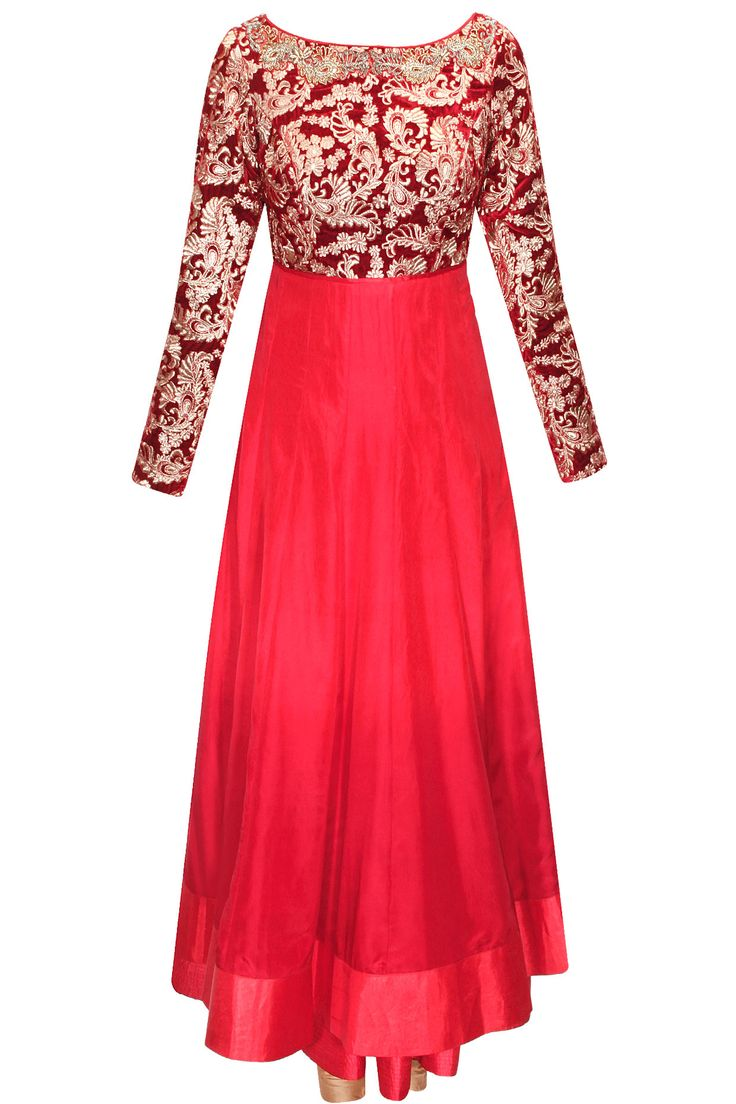 Red hand embroidered anarkali with off-white dupatta available only at Pernia's Pop-Up Shop.