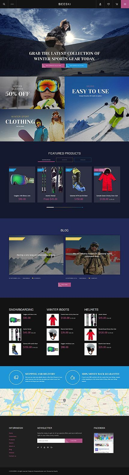 Template 61217 - Seeski Ski Responsive Shopify Theme with Bootstrap, Blog, Video Integration - Love a good success story? Learn how I went from zero to 1 million in sales in 5 months with an e-commerce store.